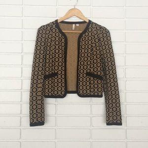 Frenchi Black & Gold Floral Design Blazer Jacket